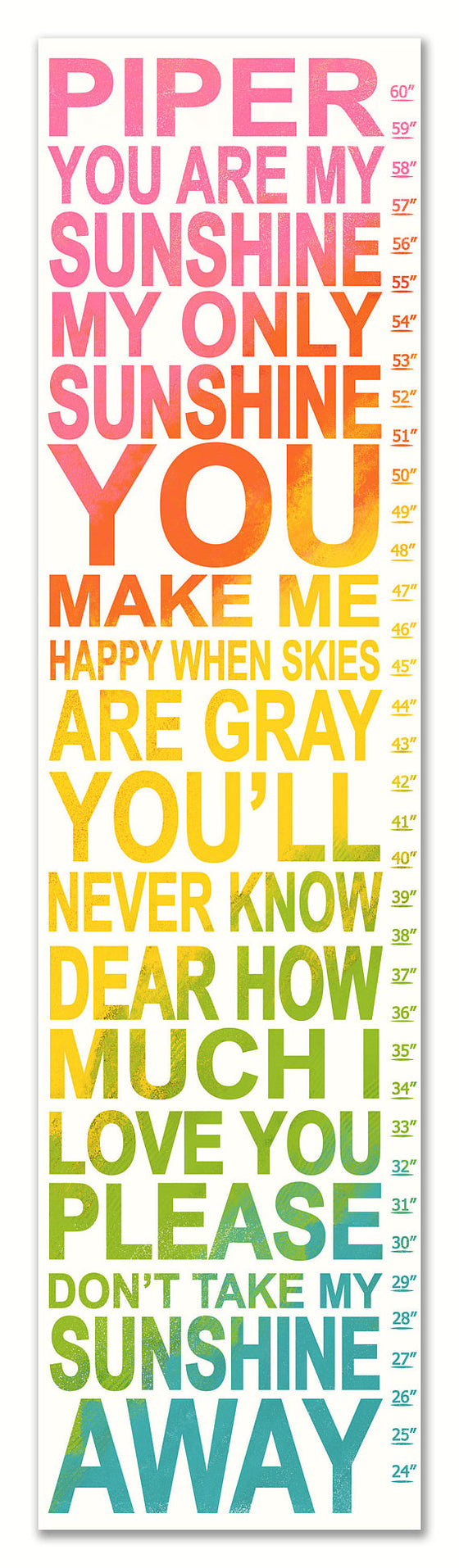 You Are My Sunshine Personalized Growth Chart - Nursery Decor