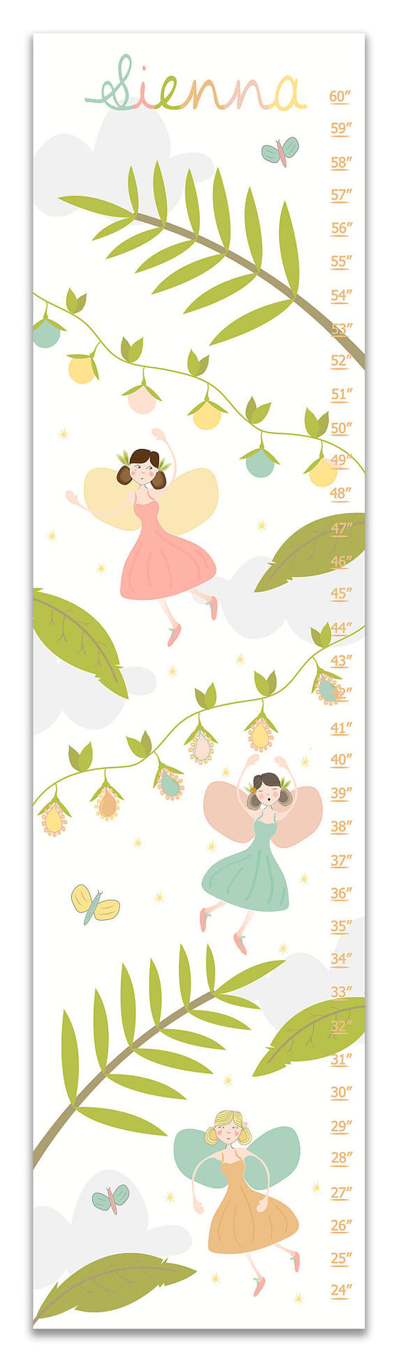 Woodland Fairy Personalized Growth Chart - Nursery Decor - Baby Gifts