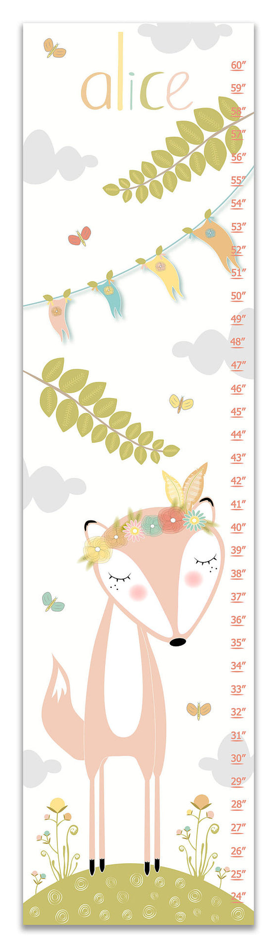 Fox Personalized Growth Chart - Nursery Decor - Baby Girl Gifts