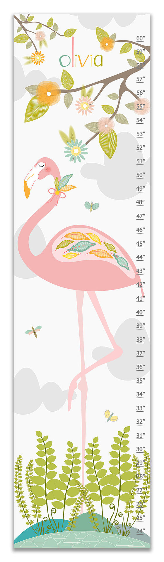 Flamingo Personalized Growth Chart - Nursery Decor - Gifts for Girls