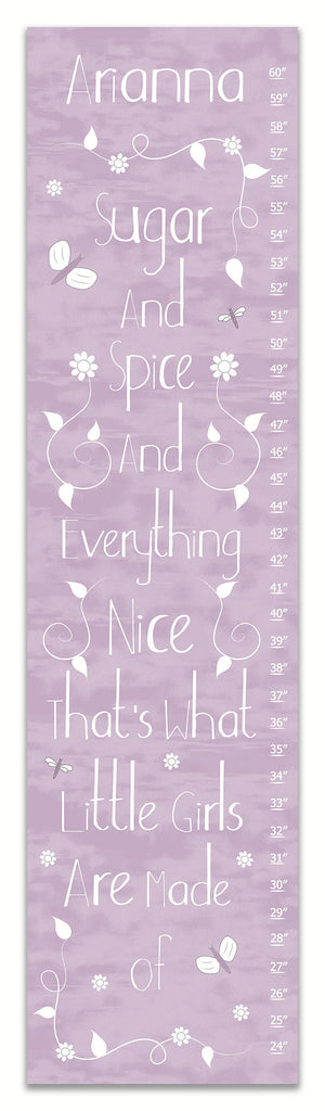 Sugar and Spice Purple Personalized Growth Chart - Nursery Decor