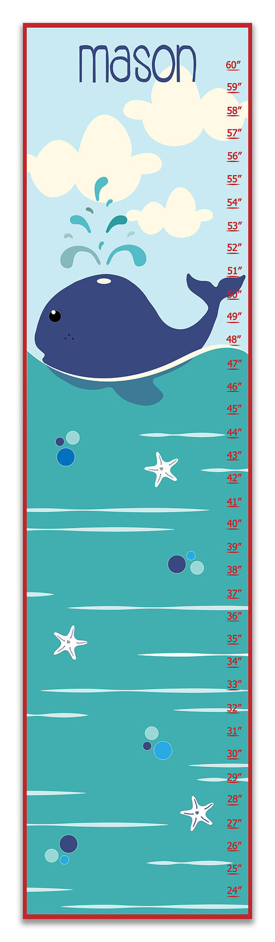 Whale Personalized Growth Chart - Gifts for Baby Boy - Nursery Decor