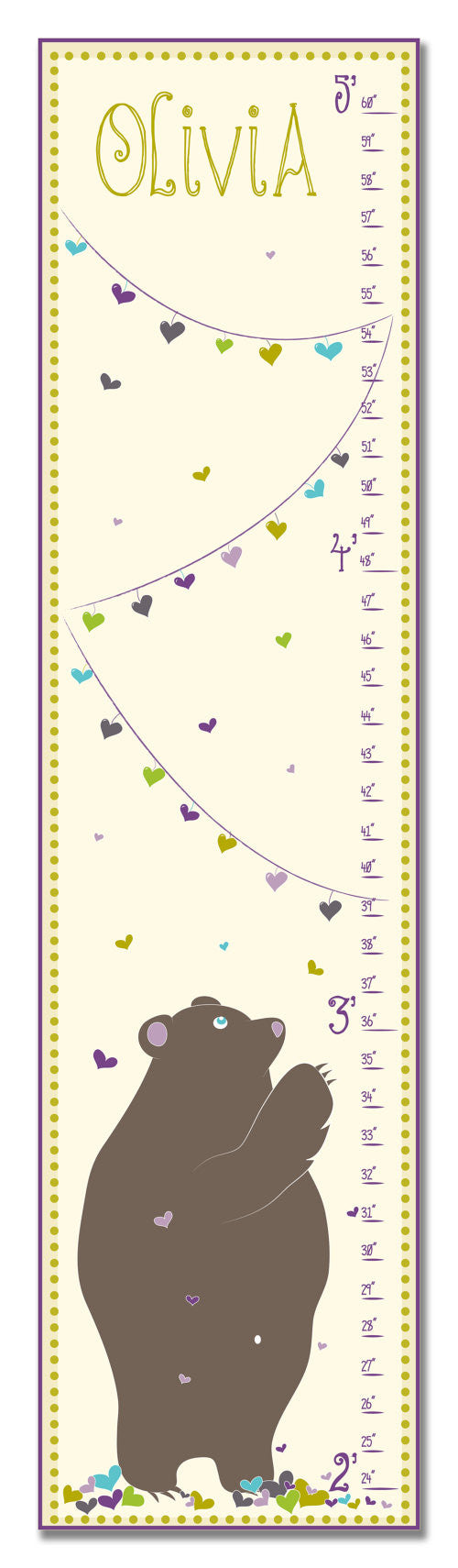 Copy of Love Bear Personalized Growth Chart - Purple