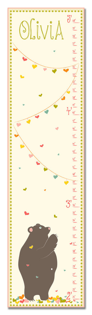 Love Bear Personalized Growth Chart - Pink