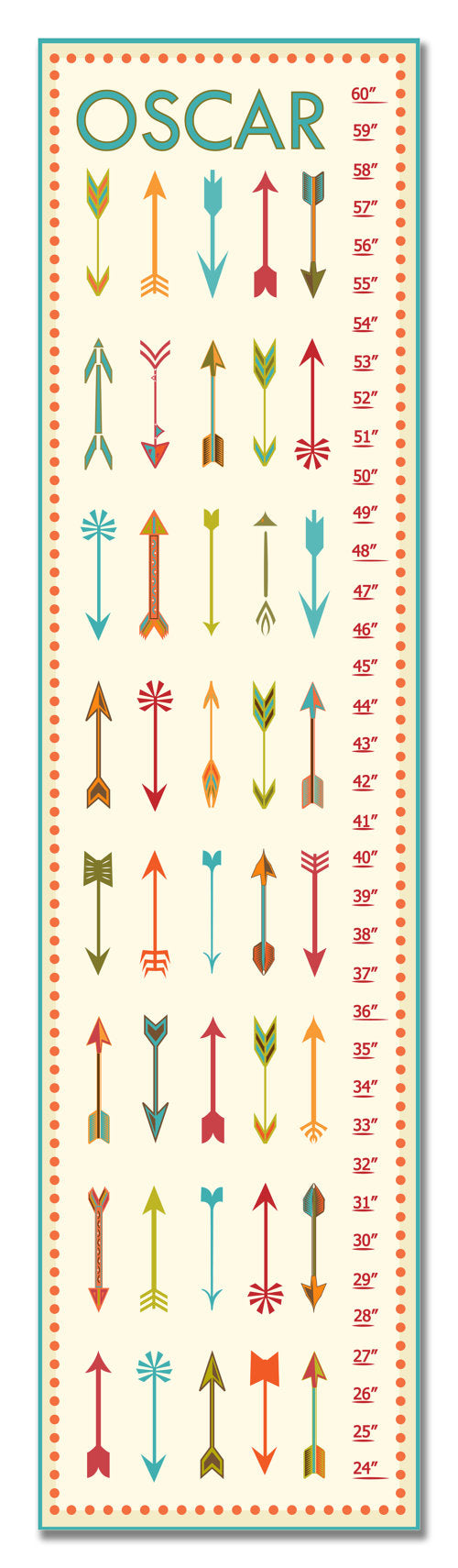Arrows Personalized Growth Chart - Teal - Nursery Decor