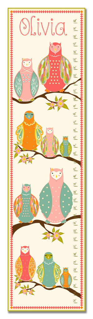 Owls In Tree Personalized Growth Chart