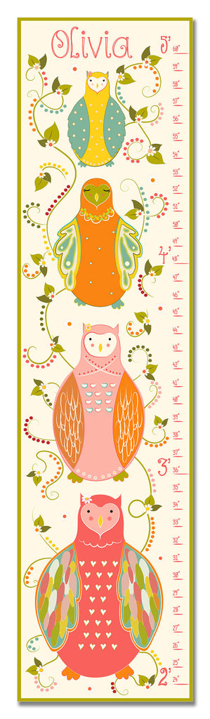 Nesting Owls Personalized Growth Chart