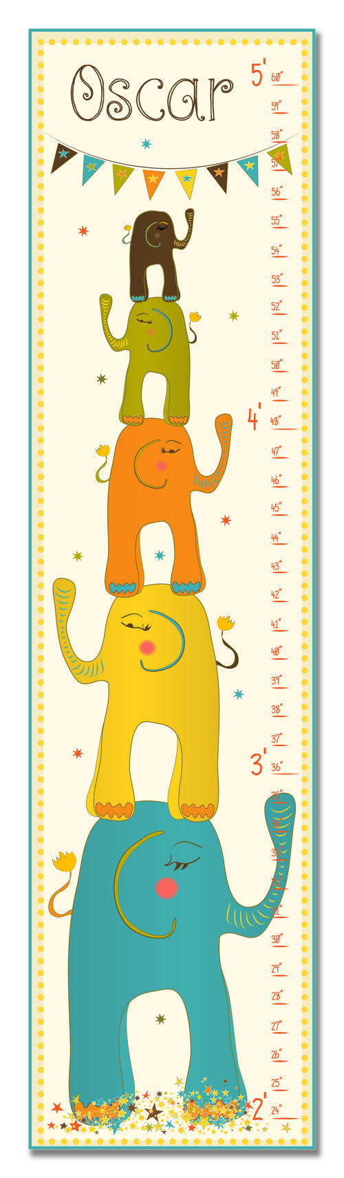 Stacked Elephants Personalized Growth Chart