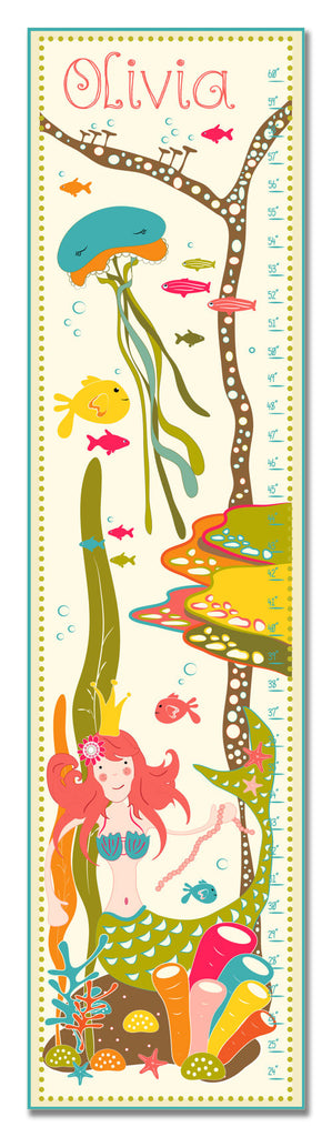 Mermaid in the Sea Personalized Growth Chart