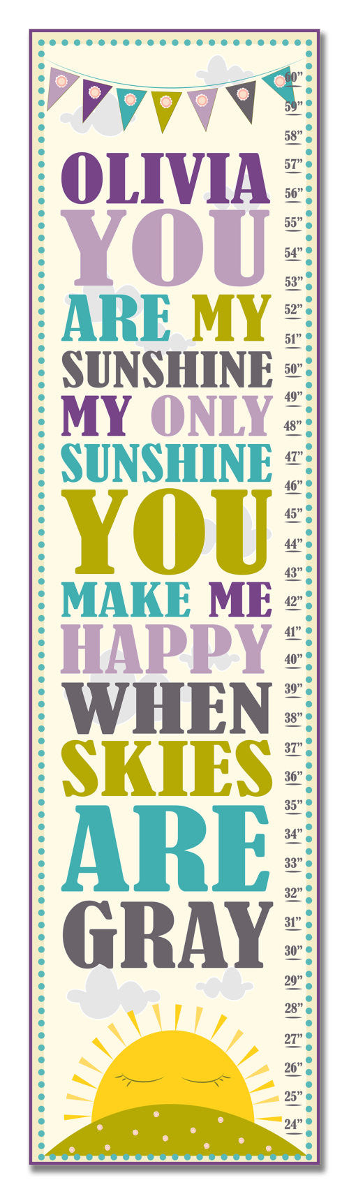 My Sunshine Personalized Growth Chart - Purple