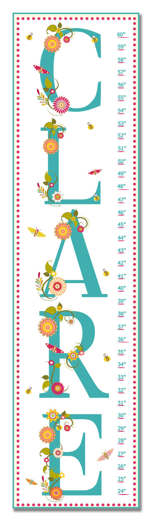 Name Personalized Growth Chart - Nursery Decor - Baby Shower Gifts