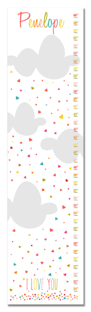 I Love You Hearts Personalized Growth Chart - Children's Decor - Baby Gifts