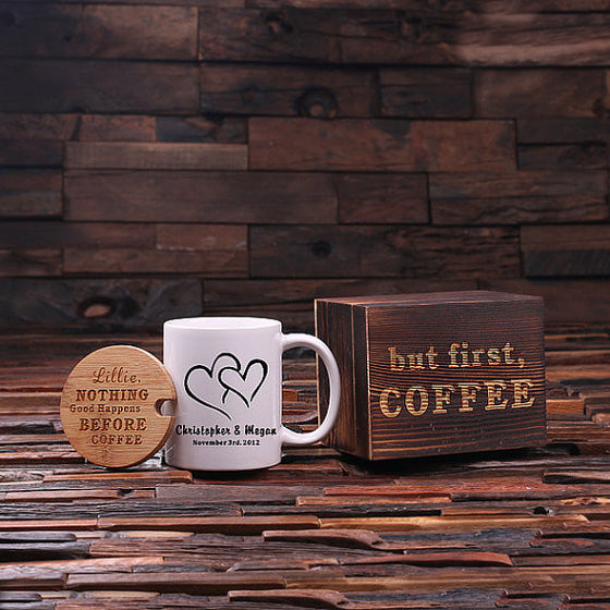 But First, Coffee Double Hearts Coffee Gift Set - Premier Home & Gifts