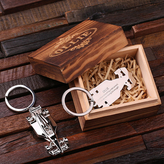Race Car Key Chain and Wood Gift Box - Gifts for Him