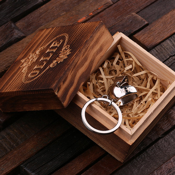 Motorcycle Helmet Key Chain and Wood Gift Box