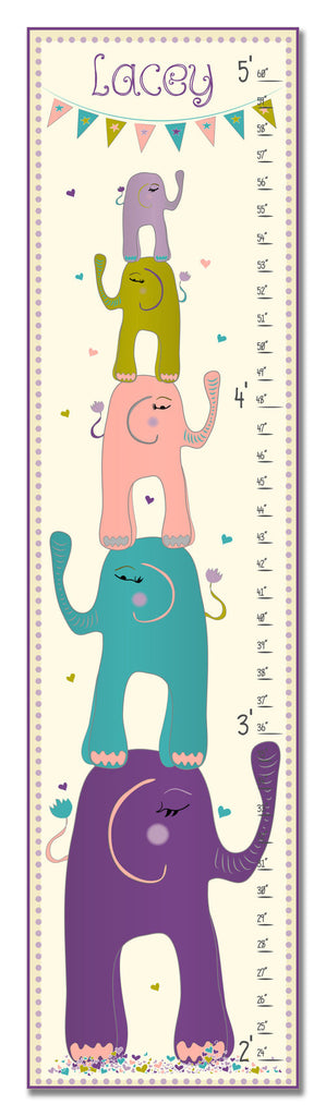 Stacked Elephants Personalized Growth Chart - Girl