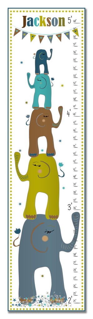 Stacked Elephants Personalized Growth Chart - Boy