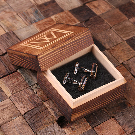 Bullet Cuff Links and Wood Gift Box - Gifts for Men