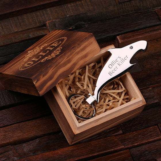 Shark Key Chain/Bottle Opener and Wood Gift Box