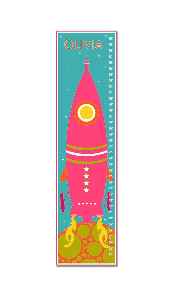 Rocket to Space Personalized Growth Chart - Pink