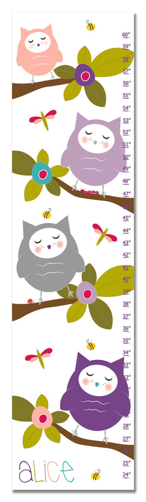 Hoot Personalized Growth Chart - Purple