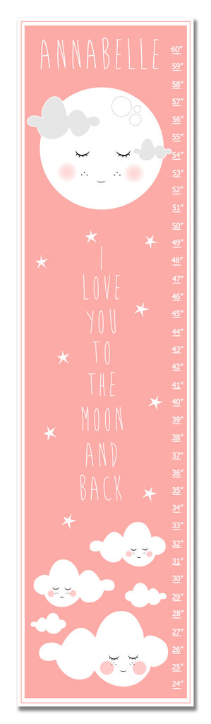Moon and Back Personalized Growth Chart - Nursery Decor
