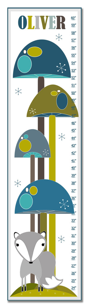 Mushroom Forest Personalized Growth Chart - Blue