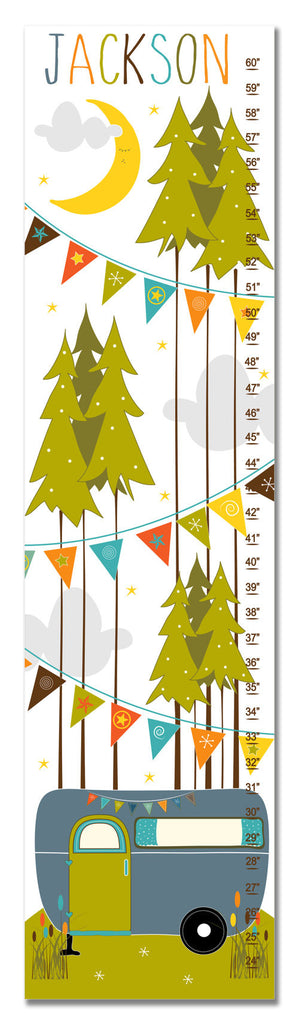 Camper Personalized Growth Chart - Slate Blue