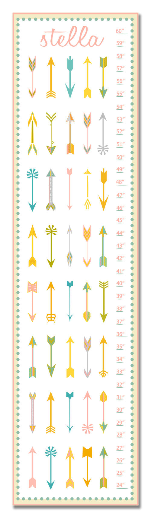 Arrows Personalized Growth Chart - Nursery Decor - Baby Gifts