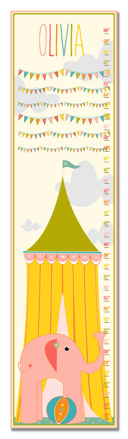 Circus Tent Personalized Growth Chart - Baby Gifts