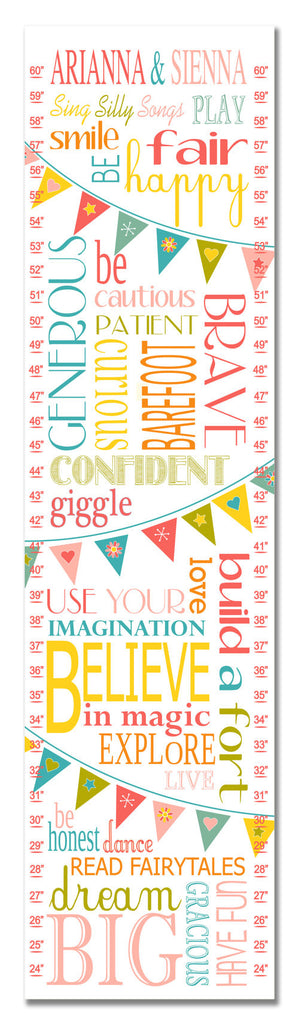 Twins Life Rules Personalized Growth Chart - Pink