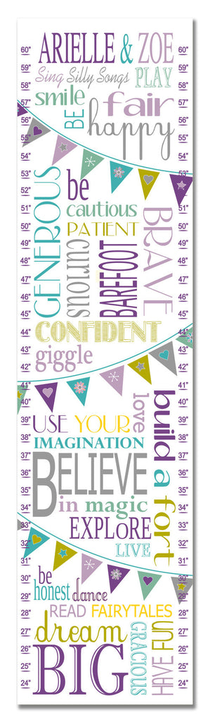 Twins Life Rules Personalized Growth Chart - Purple