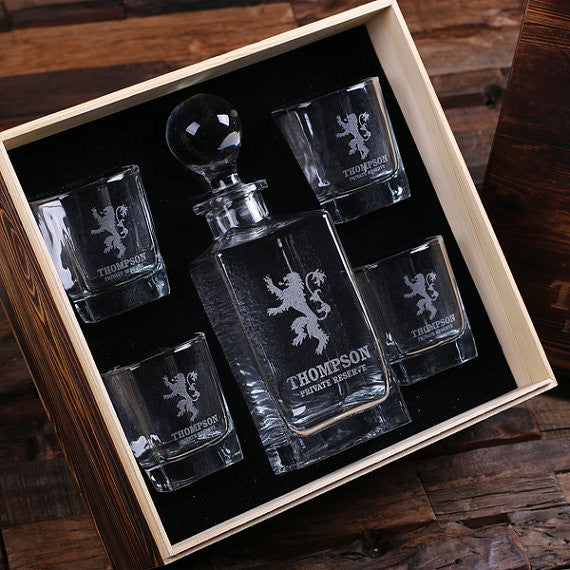 Whiskey Decanter Gift Set in Wood Gift Box - Premier Home & Gifts