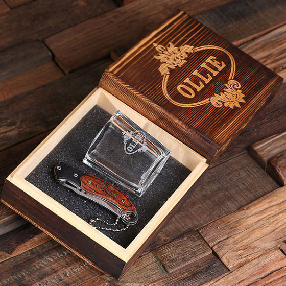 Pocket Knife and Shot Glass in Wood Gift Box - Premier Home & Gifts