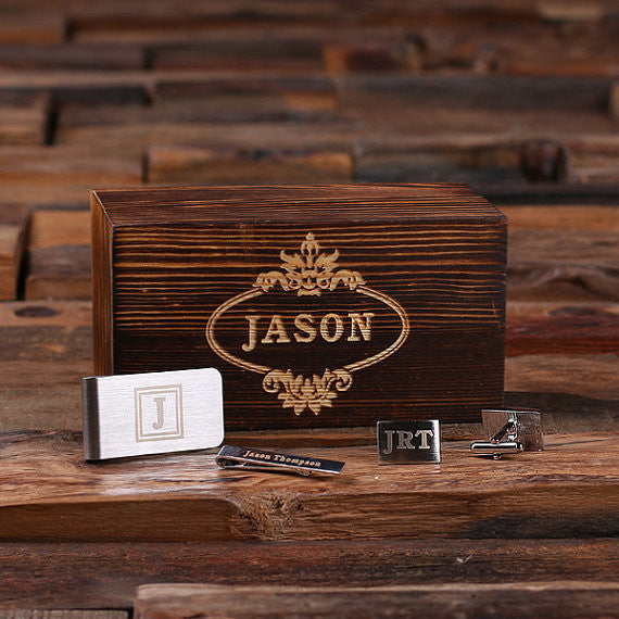Gentleman's Gift Set in Wood Gift Box - Premier Home & Gifts