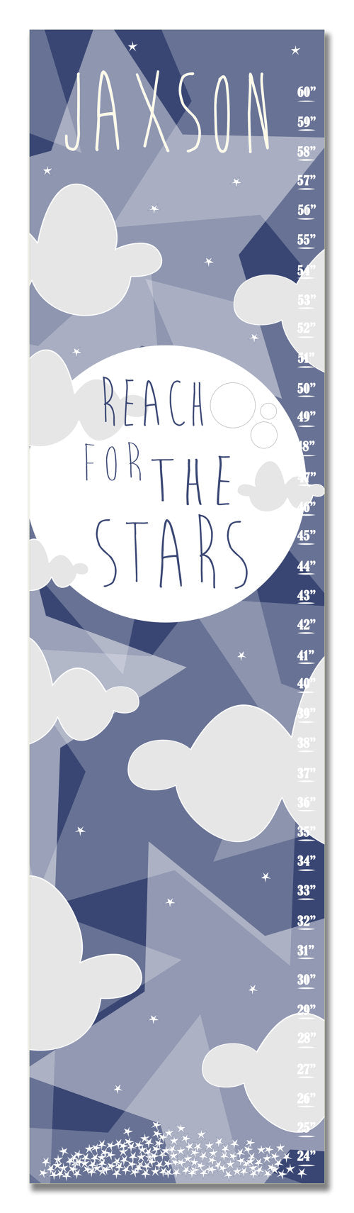 Reach for the Stars Personalized Growth Chart - Blue - Nursery Decor