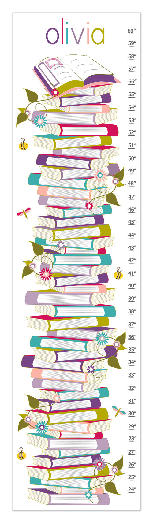 Books Personalized Growth Chart - Purple - Nursery Decor