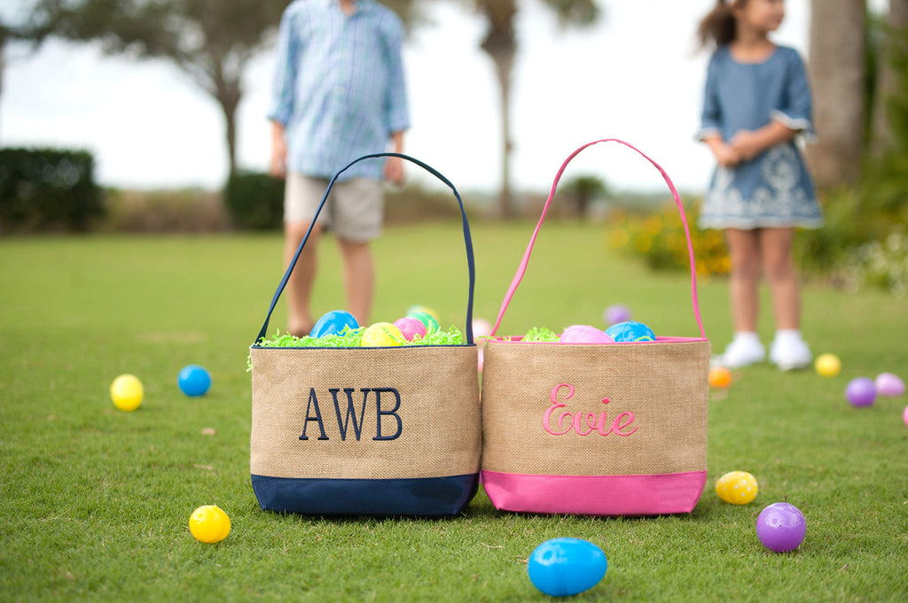 Burlap and Navy Easter Bucket - Easter Baskets - Easter Totes