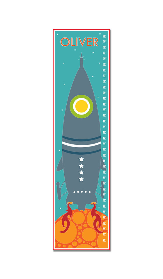 Rocket to Space Personalized Growth Chart - Blue | Premier Home & Gifts
