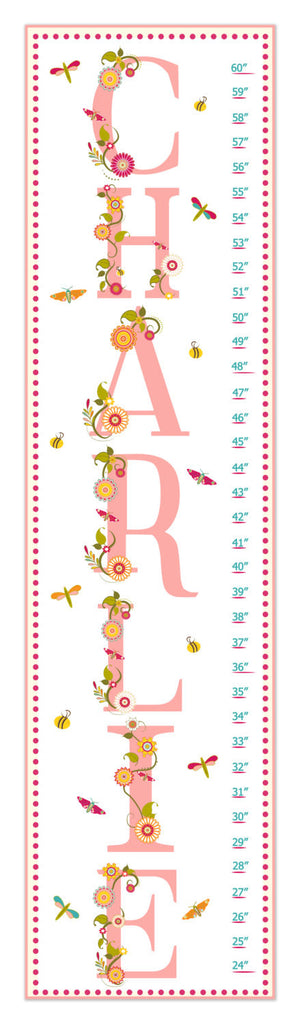 Name Personalized Growth Chart - Pink | Premier Home & Gifts