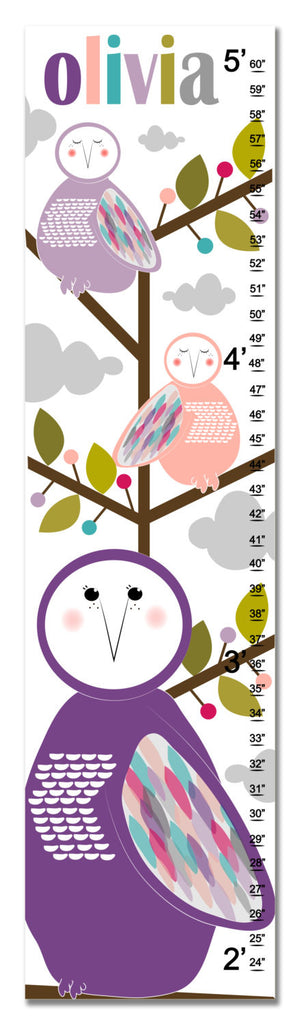Owls Personalized Growth Chart - Purple | Premier Home & Gifts