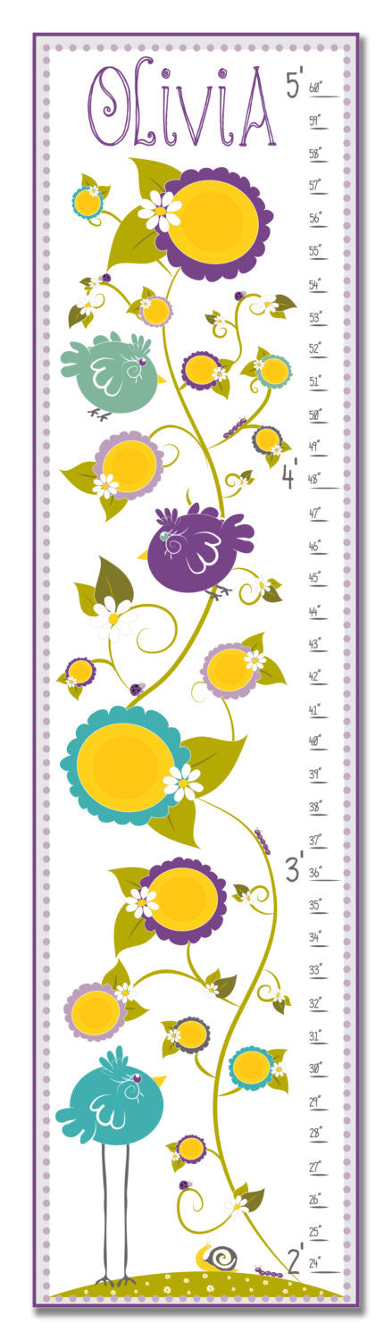 Birds in Garden Personalized Growth Chart - Purple | Premier Home & Gifts
