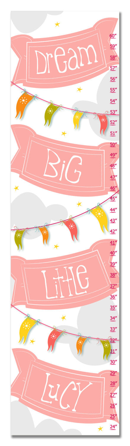 Dream Big Personalized Growth Chart - Pink | Premier Home & Gifts