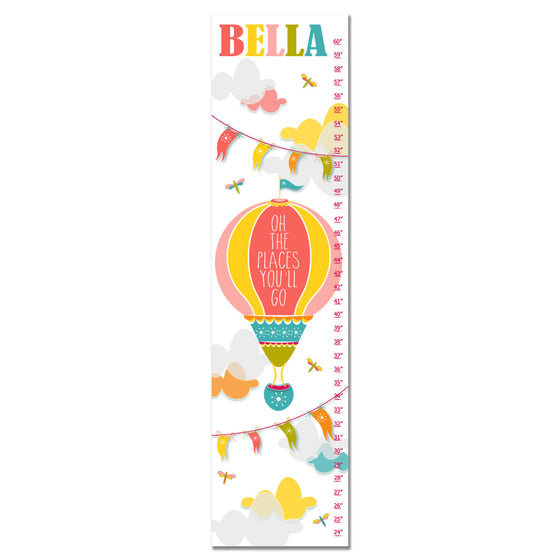 Hot Air Balloon Personalized Growth Chart - Pink | Premier Home & Gifts
