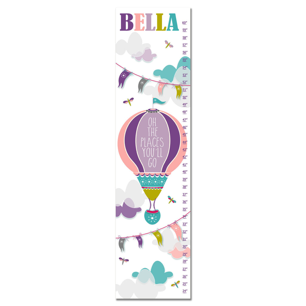 Hot Air Balloon Personalized Growth Chart - Purple | Premier Home & Gifts