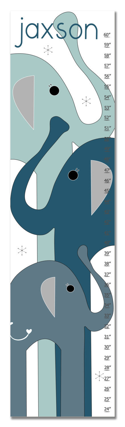 Elephants Personalized Growth Chart - Blue | Premier Home & Gifts