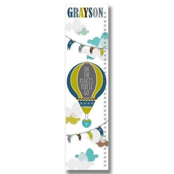 Hot Air Balloon Personalized Growth Chart - Blue | Premier Home & Gifts