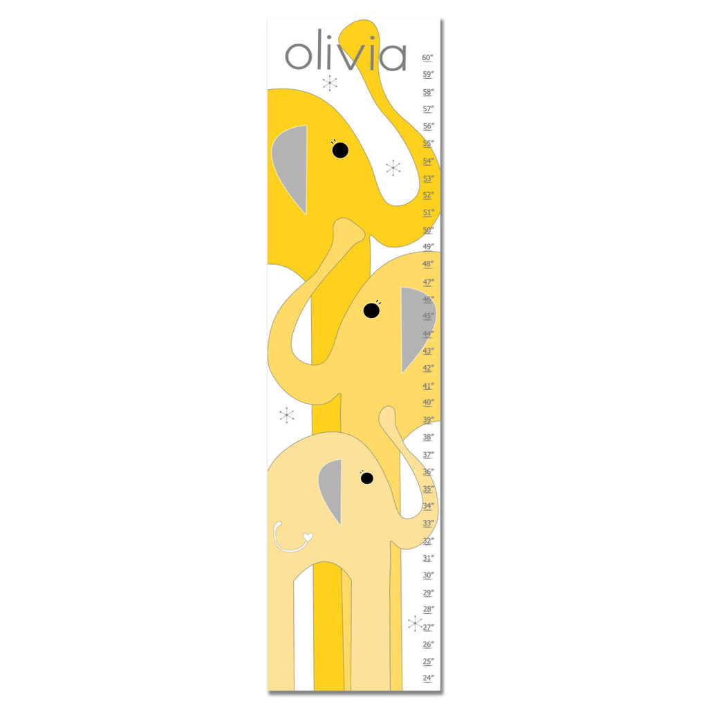 Elephants Personalized Growth Chart - Yellow | Premier Home & Gifts