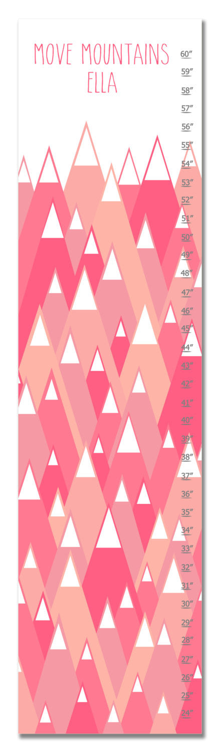 Move Mountains I Personalized Growth Chart - Pink | Premier Home & Gifts
