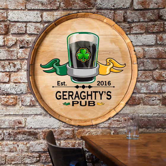 Irish Pub Barrel Wood Sign - Premier Home & Gifts